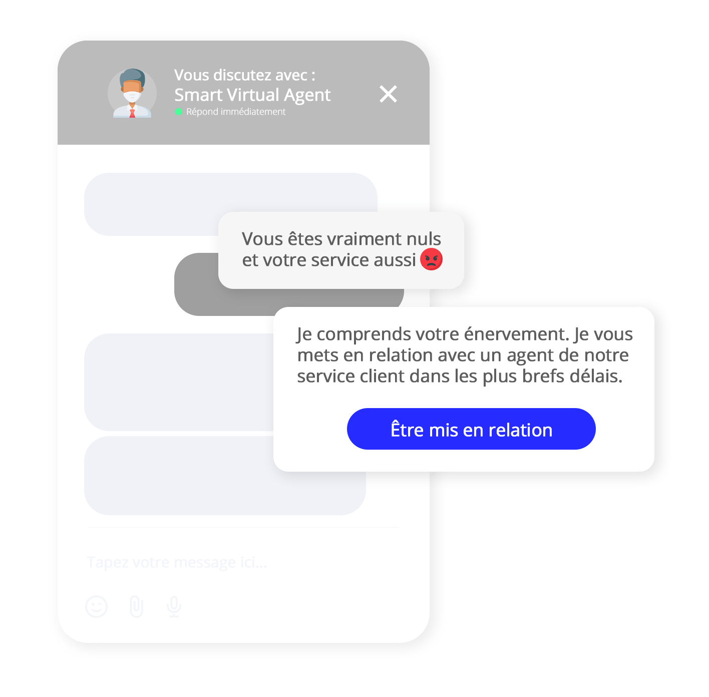 escalade emotionnelle chatbot