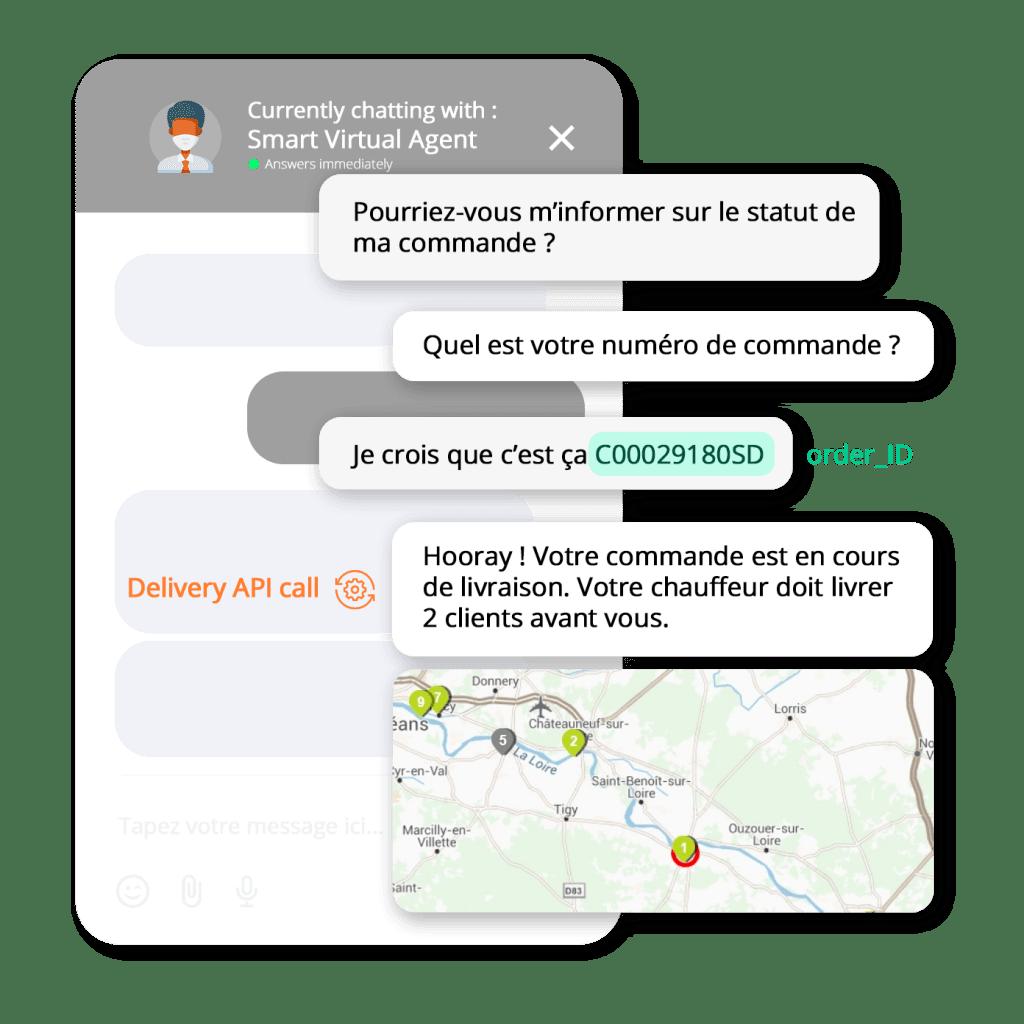 Exemple d'automatisation d'un suivi de livraison e-commerce par un chatbot NLP.